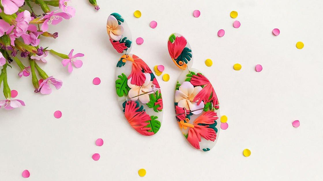 ComprarFimo.pt Brincos de flores tropicais - Técnica Slab Fimo trend 00